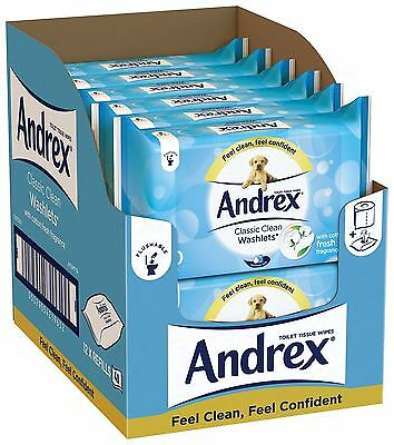 Andrex Washlets Flushable Toilet Tissues Wipes Classic Clean 12 Pack of 40 wipes