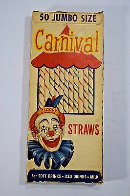 Vintage Carnival Scoopy Clown Jumbo Soda Drinking Straws in Original Box Unopen