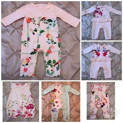 Ted Baker Baby Girl Bundle Rompers & Sleepsuit 6-9 Months Immaculate!