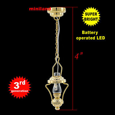 Brass Hanging Oil bright battery LED LAMP Dollhouse miniature light on/of Sm