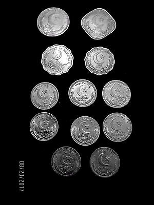 Old Pakistan Coins - Lot Of 12 - Quarter Rupee - Ten Pice & Others