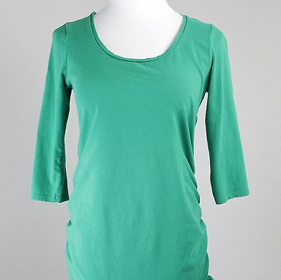 Motherhood Maternity S Green Scoop Neck Stretch 3/4 Sleeve Blouse T Shirt Top