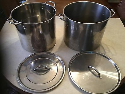 2 Used Stainless Steel Stock Pots.