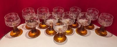 12 Vtg Amber Stem Wine Glass Goblets Beehive Roemer Etched Grapes Mid Century