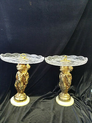 Antique Pair metal golden  figure & pressed Glass Centerpieces ; Fruit Platter