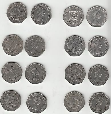 Jersey & Guernsey Obsolete large format 50p coin - multi listinmg