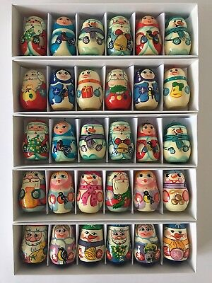 Christmas Tree Decoration Set Russian Wooden Dolls Toys Hand Painted Ornaments