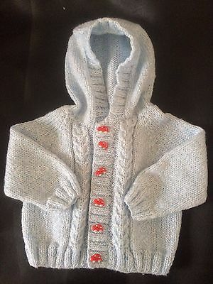 Hand Knitted Baby Boy Hooded Cardigan  Blue 3-6 months Red Car Buttons