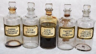 Antique Pharmacy Apothecary Bottles w/ Glass Stoppers & Orig Latin Labels- Set o