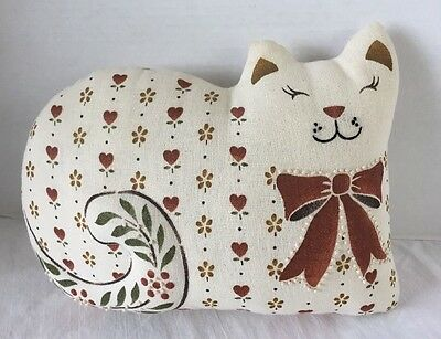 """Hand Embroidered/Candlewick/Trapunto Cat Pillow 11""""x9""""x4"""" ~ Nice!"""