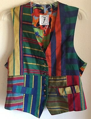 VINTAGE SILK TIMES 7 JEWELED  BUTTON  TODD OLDHAM  VEST One Size