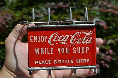 1950s Coca-Cola  / Coke metal sign grocery shopping cart wire 2 bottle carrier