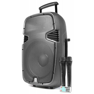 Vonyx SPJ-PA915 Rechargeable 15 Inch Portable Speaker System w/ 2x Wireless Mics