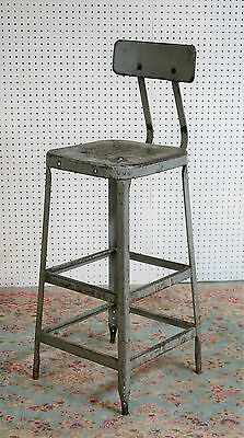 vintage ANTIQUE pressed STEEL drafting ENGINEERS CHAIR seat height 30 inches VG