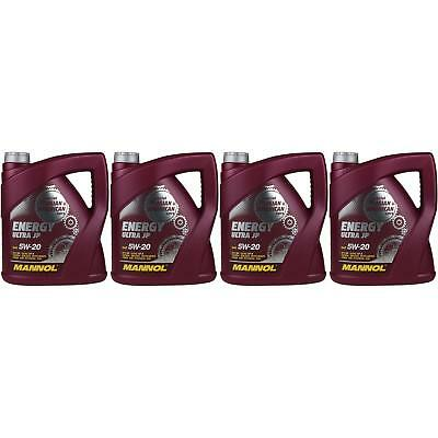 4x 4 Litre ORIGINAL Mannol Engine Oil Energy Ultra JP 5W-20 API SN