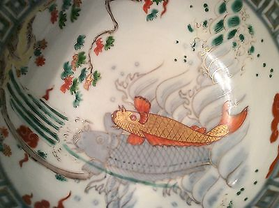 Japanese OLD IMARI colored porcelain bowl with good carp fish painting