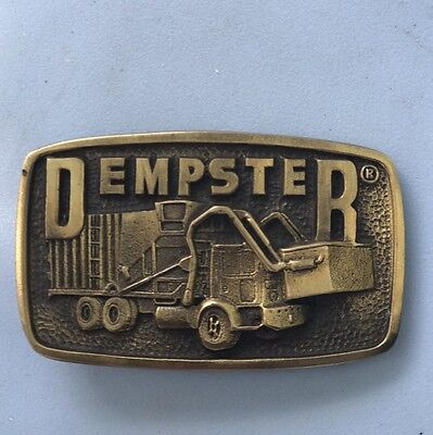 1970 's DEMPSTER GARBAGE TRUCK Company SOLID BRASS BELT BUCKLE BY DAB INC