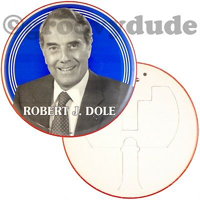 "1996 Robert J. Bob Dole For President 9"" Political Campaign Photo Pinback Button"