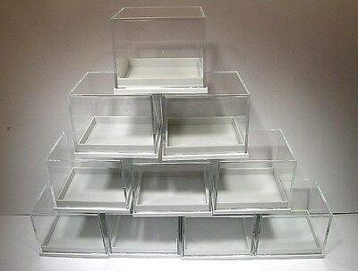 10 PIECE SET OF 4 x 3.5 x 3.25 CM CLEAR TOP-WHITE BASE GERMAN DISPLAY CASES!