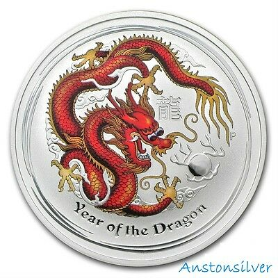 2012 Australian 1/2 oz Year of the Dragon Red Colorized Silver Coin