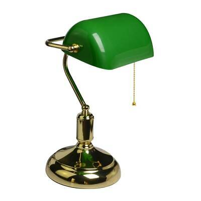LED Bulbs Desk Light Vintage Brass Bankers Table Lamp Study Office Acrylic Shape