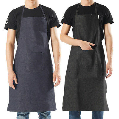 Denim Work Apron Chef Anti Oil Workwear Barista Painter Barber Pure Color Apron