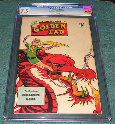 1946 Golden Lad #5 CLASSIC COVER Mort Meskin Crossen 7.5 CGC HIGHEST + ONLY!
