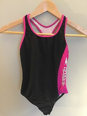 Speedo Girls Black and Pink One-Piece Swimsuit, Size 10