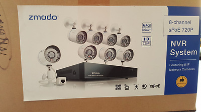 Zmodo 8CH 720p NVR sPoE Security System 8 Outdoor IP Cameras 1TB Hard Drive