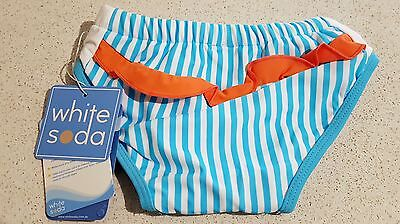 Gorgeous White Soda Girls Blue & White Stripe Swim Nappy, Swimwear, UPF 50+