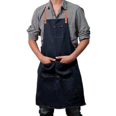 Working Denim Apron Barista Artist Painter Dustproof Workwear Faux Leather Strap