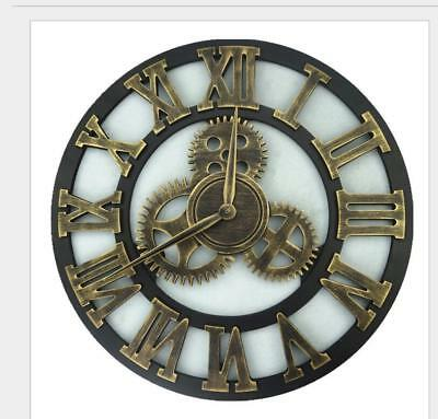 Vintage Rustic Wooden Luxury Roman Arabia Numerals Large Gear Wall Clock 7362HC