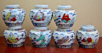 Beautiful Chinese Dou cai Porcelain a set 7pots Seven Sages of the Bamboo Grove