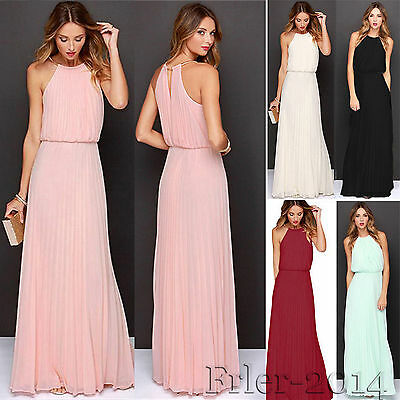 Womens Formal Chiffon Long Maxi Dress Gown Prom Evening Party Bridesmaid Wedding