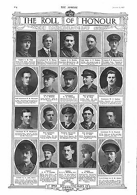 1917 Antique Print - Ww1- Roll Of Honour #2