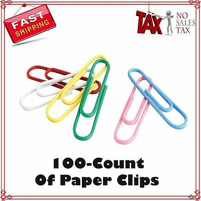 School Smart Vinyl Coated Paper Clip, 1-1/4 Inch, Assorted Colors, 100 Pieces