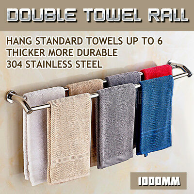 1000MM Towel Rail Double Rack Bathroom 2 Bar Hanger Wall Mount Stainless Steel