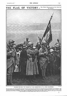1917 Antique Print - Ww1- The Third Anniversary Of Battle Of The Marne