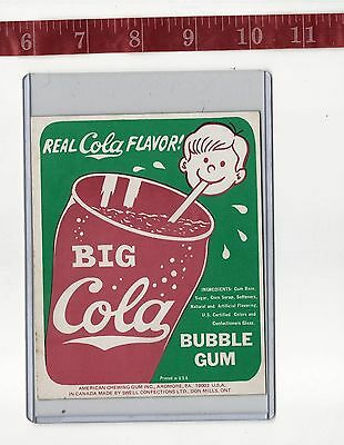 Vintage vending machine display Big Cola bubble gum card FREE SHIPPING