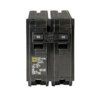 Square D Homeline Circuit Breaker Protection Electrical System 2 Pole 50 Amp