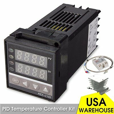 Digital LCD PID REX-C100 Temperature Controller 40A SSR K Thermocouple Heat Sink
