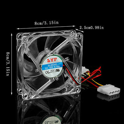 Clear 4-LED Blue Neon Light 80mm 12V 0.18A PC Computer Case Cooling Fan 8025