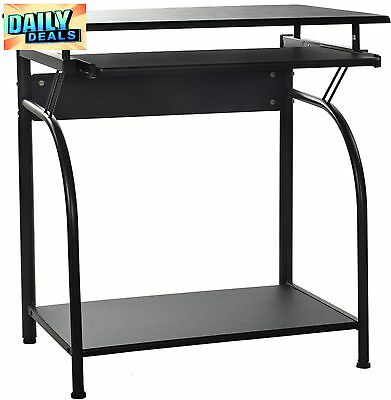 Computer Desk with Pullout Keyboard Tray Home Office Small Table Furniture Black