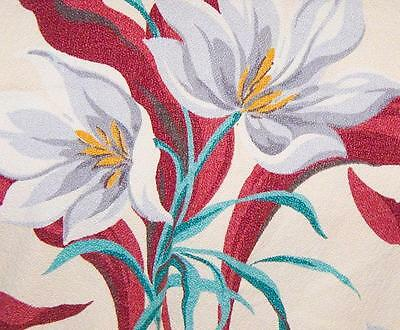 1940s/50s Vintage White Flowers on Pale Yellow BarkCloth - 2+ Yards!