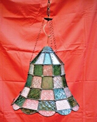 Antique Italian Mosaic Bell Chandelier w White & Green Glass, 1800's Large Bell
