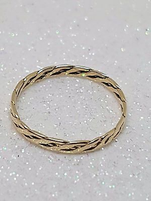 100% GENUINE 9ct YELLOW GOLD PLAITED TWIST STACK RING SIZE M