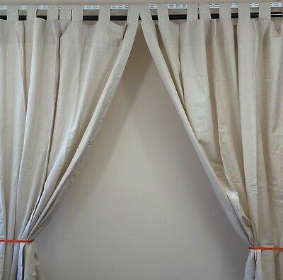 mamas & papas Tab Top Curtains Beige Children's Bedroom Nursery 71 Inch Drop