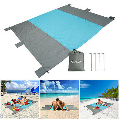Outdoor Beach Mat Picnic Blanket Sand Free Sandless Camping Garden Rug +4 Stakes