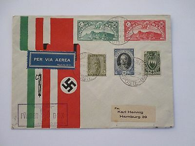 1938 San Marino propaganda Fuhrer and Dux air mail cover to Germany