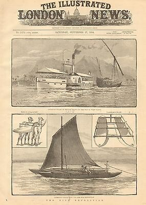1884 Antique Print-The Nile Expedition-Copeman's Canoe, River Steamer